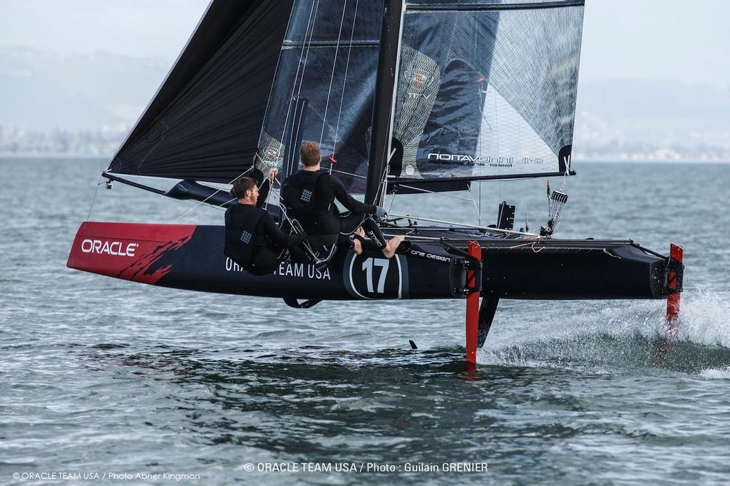 Oracle Team USA, San Francisco Bay, Practice Sailing, Flying Phantom One Design, Rome Kirby, Sam Newton © Oracle Team USA media