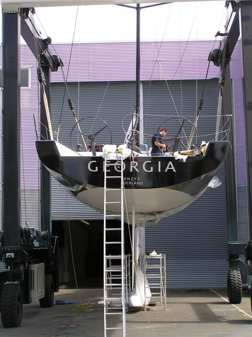 Stern section view. - New Georgia being Rigged ready for Launch at the Viaduct Basin in Auckland. Photos taken Weds  7th October. © Nigel Price