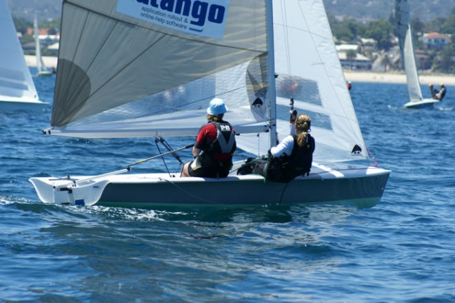 The German girls crew close to the front, Race 9 2007 SAP 505 World Championships, Adelaide © Sail-World.com /AUS http://www.sail-world.com