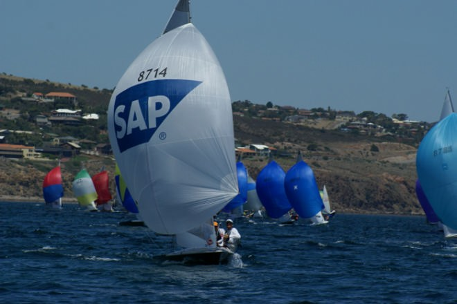 The van of the fleet on the reach , Race 9 2007 SAP 505 World Championships, Adelaide © Sail-World.com /AUS http://www.sail-world.com