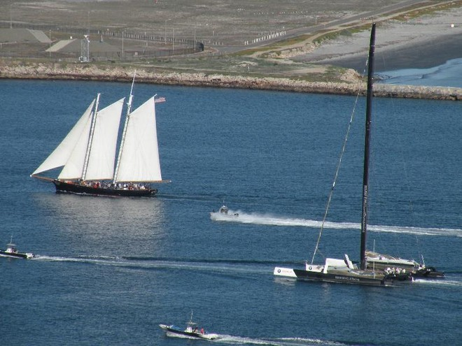 The old and the new...schooner 'America' and the old BOR90 coming in from a practice. © Warren Allan