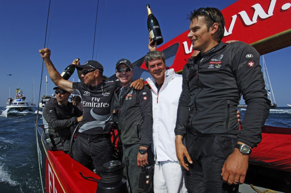 Emirates Team New Zealand MD Grant Dalton, Terry Hutchinson, Yves Carcelle, the President and CEO of Louis Vuitton and Dean Barker aboard NZL92 after their 5 - 0 win of the Louis Vuitton Cup finals. 6/6/2007 © Emirates Team New Zealand / Photo Chris Cameron ETNZ