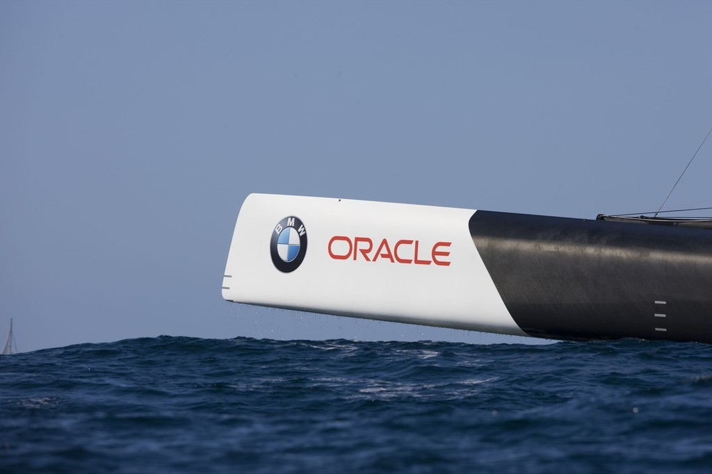 BMW ORACLE Racing - original bow shape - the new ones should reduce drag and pitching © BMW Oracle Racing Photo Gilles Martin-Raget http://www.bmworacleracing.com