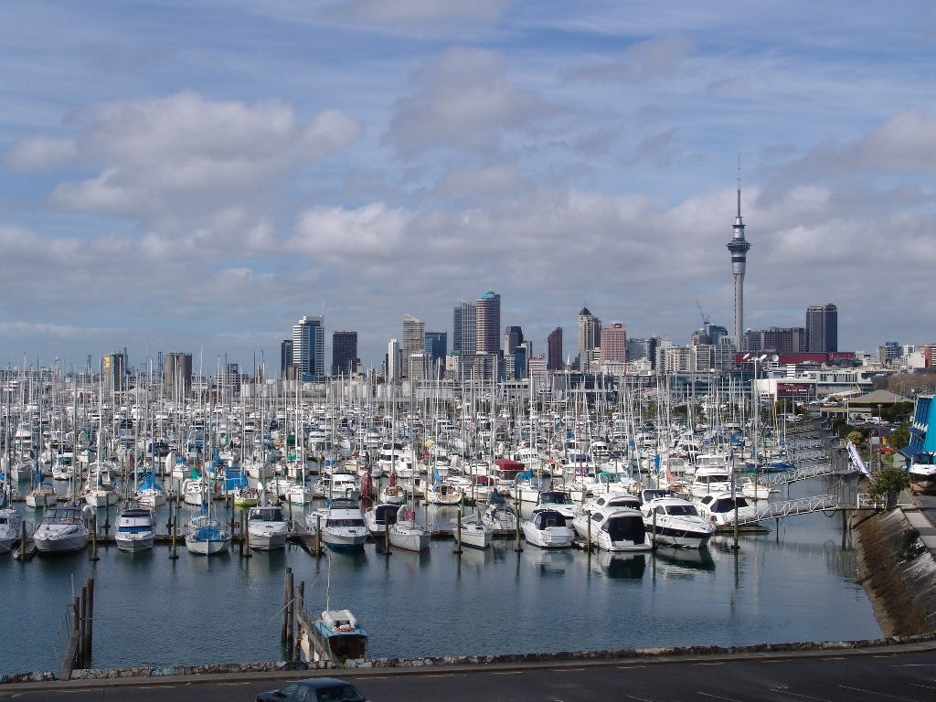 One third of the Westhaven Marina, which is wholly owned by the Auckland City Council, with the Wynyard Precinct in the background - photo © Sail-World.com/NZ