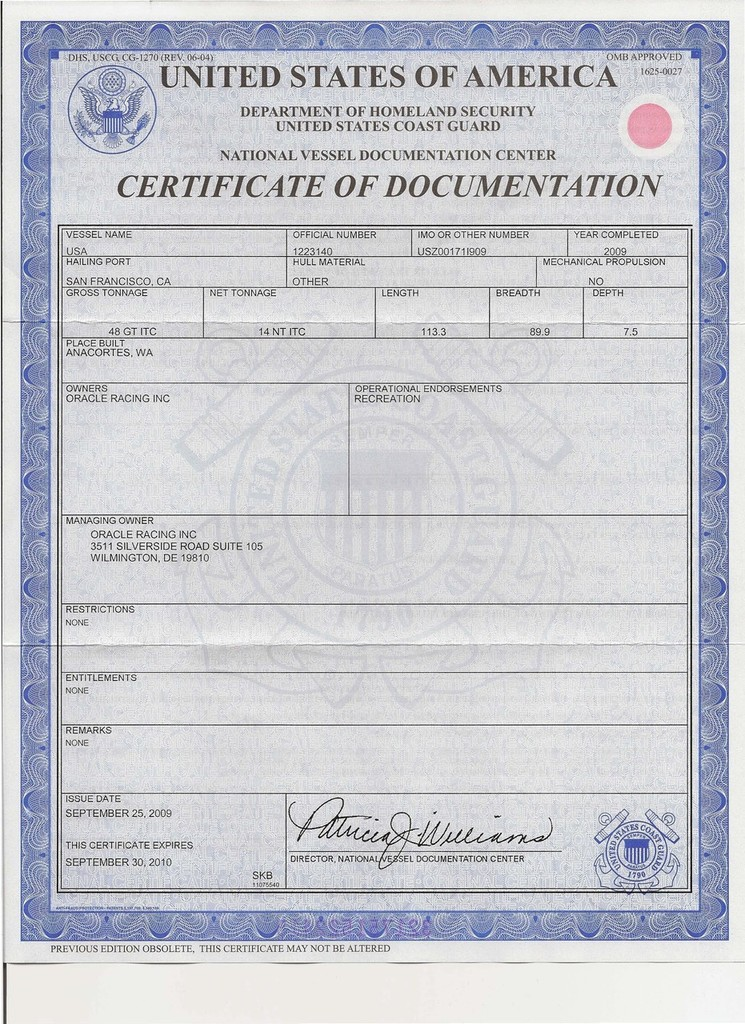 Usa Certificate Of Documentation Page 1