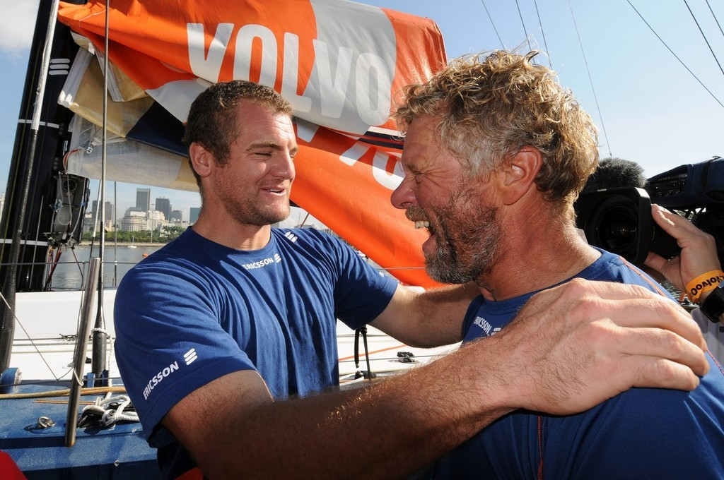 Magnus Olsson is greeted by Watch Captain Richard Mason (NZL) who missed out on leg 5 due to injury ©  David Kneale/Volvo Ocean Race http://www.volvooceanrace.com/