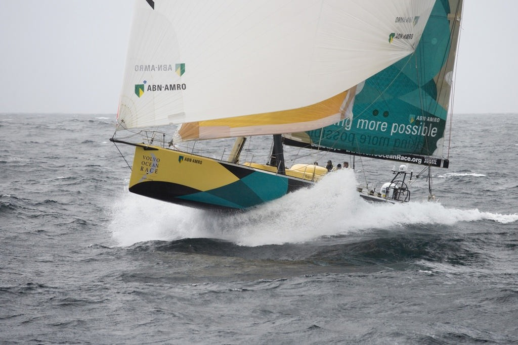 ABN Amro One skippered by Mike Sanderson sailing very bow - up past the flies past the Lizard, Salthouse says the VO65s fly at at similar angle downwind because of keel lift ©  Oskar Kihlborg / Volvo Ocean Race