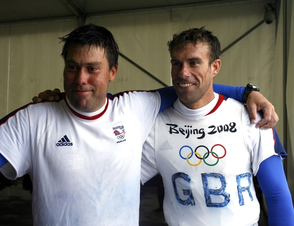 Qingdao Olympic Regatta 2008. Ian Percy (r) and Andrew Simpson (GBR), Star Gold medal winners. © Guy Nowell http://www.guynowell.com
