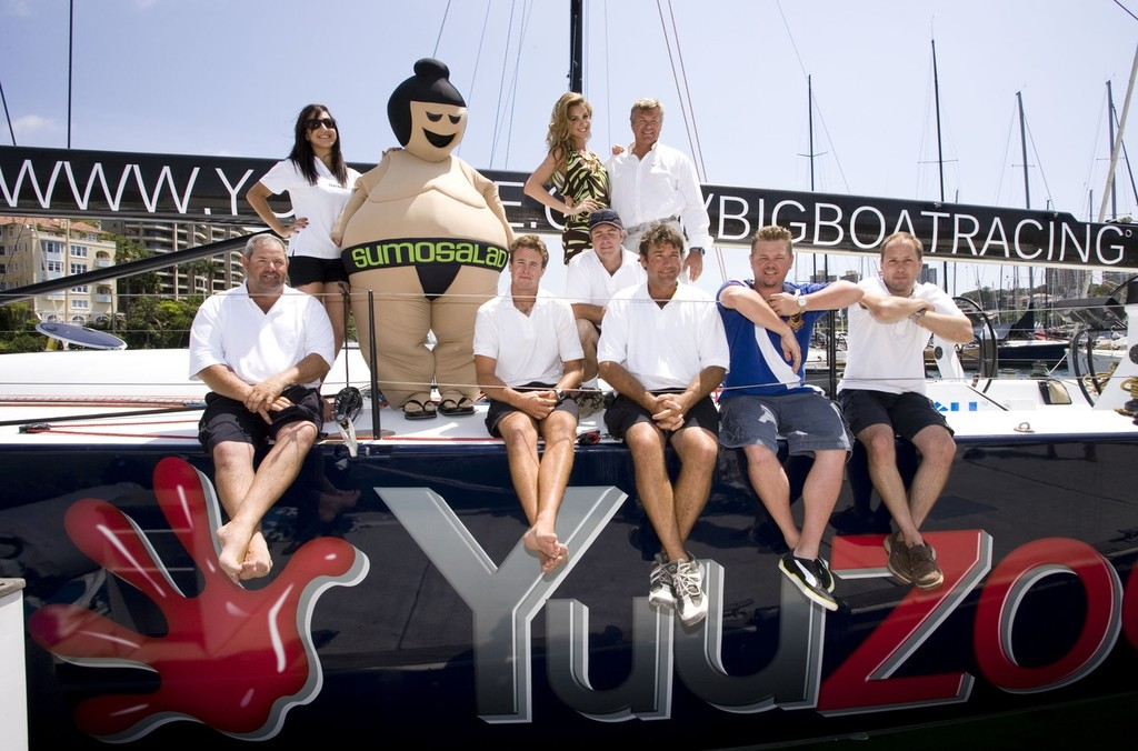 Ludde Ingvall amid crew and sponsors, aboard YuuZoo - geared up for a globally broadcast race. © MIAA