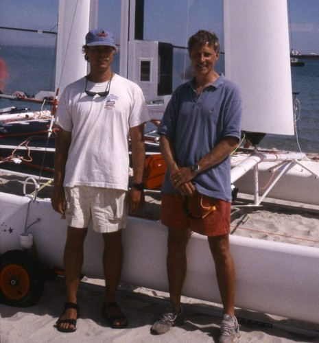 Duncan MacLane (right) consultant to Alinghi and member of the design team for Stars and Stripes ('87) and Cogito in 1996 with crew Erich Chase. © Richard Gladwell www.photosport.co.nz