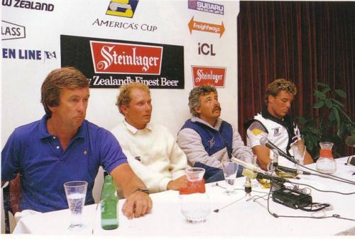 A character forming time as (from left) Michael Fay, Chris Dickson, Brad Butterworth and Erle Williams face the media after Race Four of the 1987 Louis Vuitton Cup  where the Kiwis were down 3-1, with one race potentially left in the regatta. © Bruce Jarvis