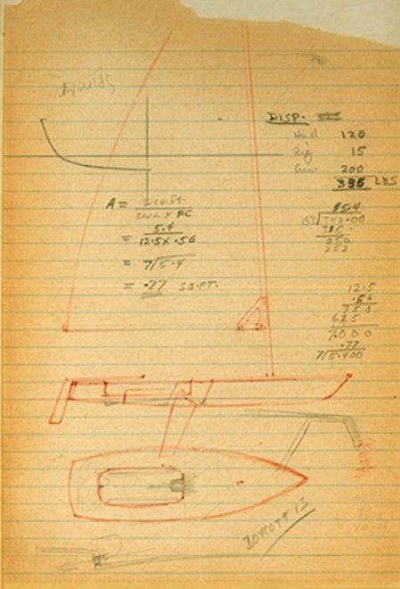 Laser designer Bruce Kirby's famous first rough sketch - note not a paper napkin © Bruce Kirby