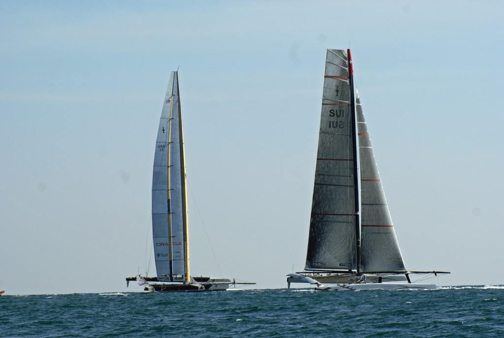Alinghi 5 and USA-17 at a critical moment on Leg 1 of Race 1, 2010 America's Cup - photo © Richard Gladwell www.photosport.co.nz