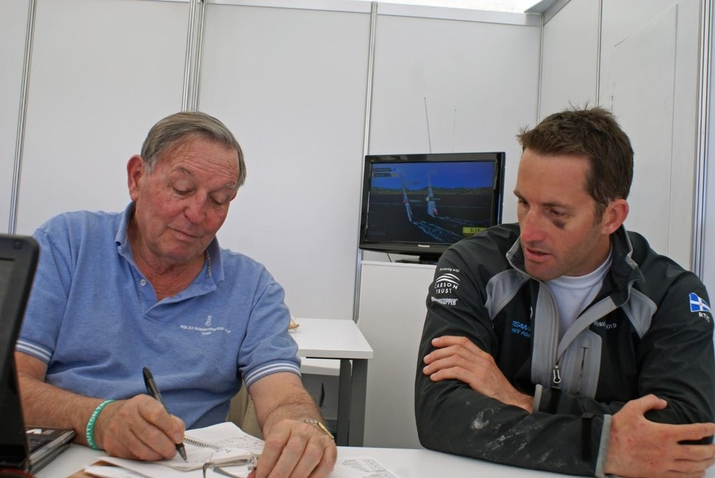 TeamOrigin skipper, Ben Ainslie debriefs Bob Fisher immediately after the race in the Louis Vuitton Media centre - photo © Richard Gladwell www.photosport.co.nz