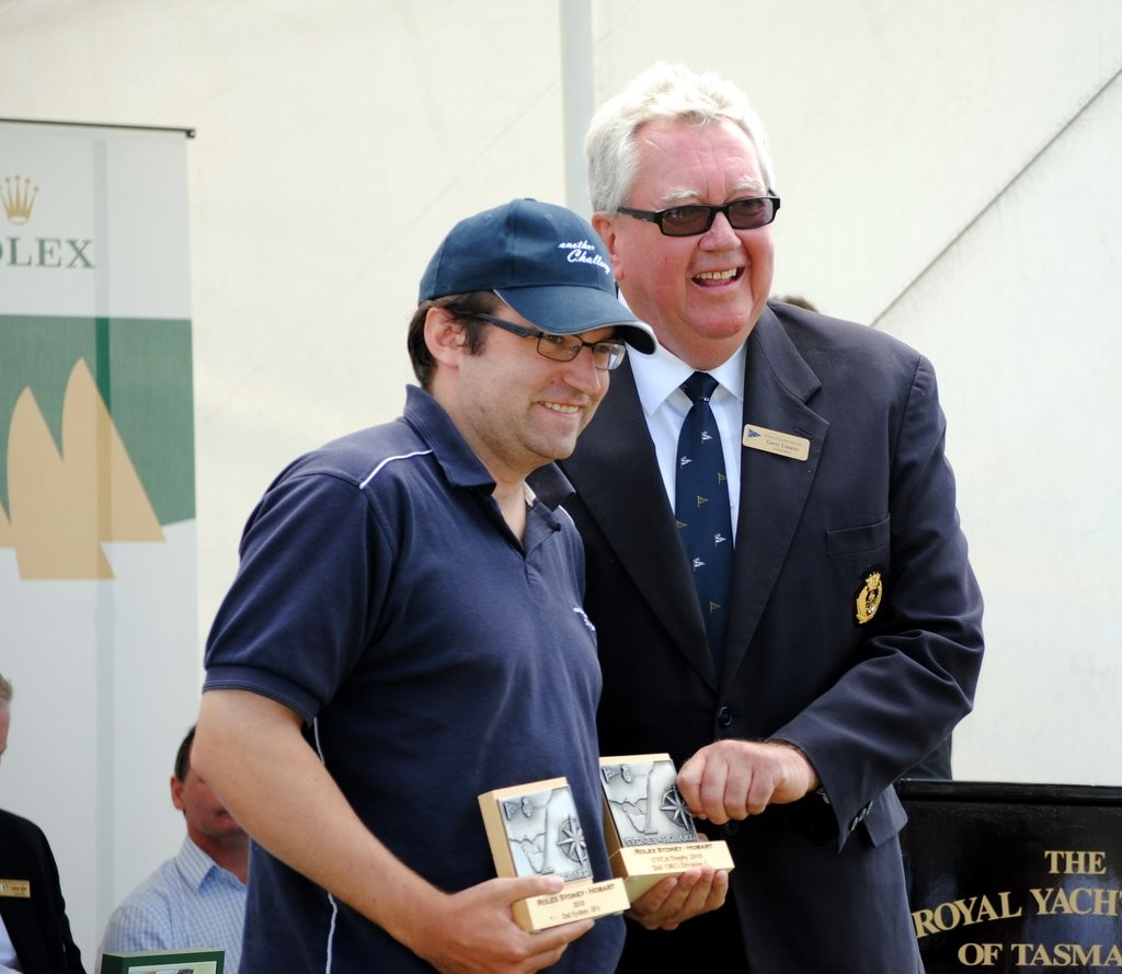 Chris Lewin (Another Challenge) received two CYCA trophies from Commodore Garry Linacre - Rolex Sydney Hobart Sydney 38 Division<br /> <br />  &copy;  Andrea Francolini Photography http://www.afrancolini.com/