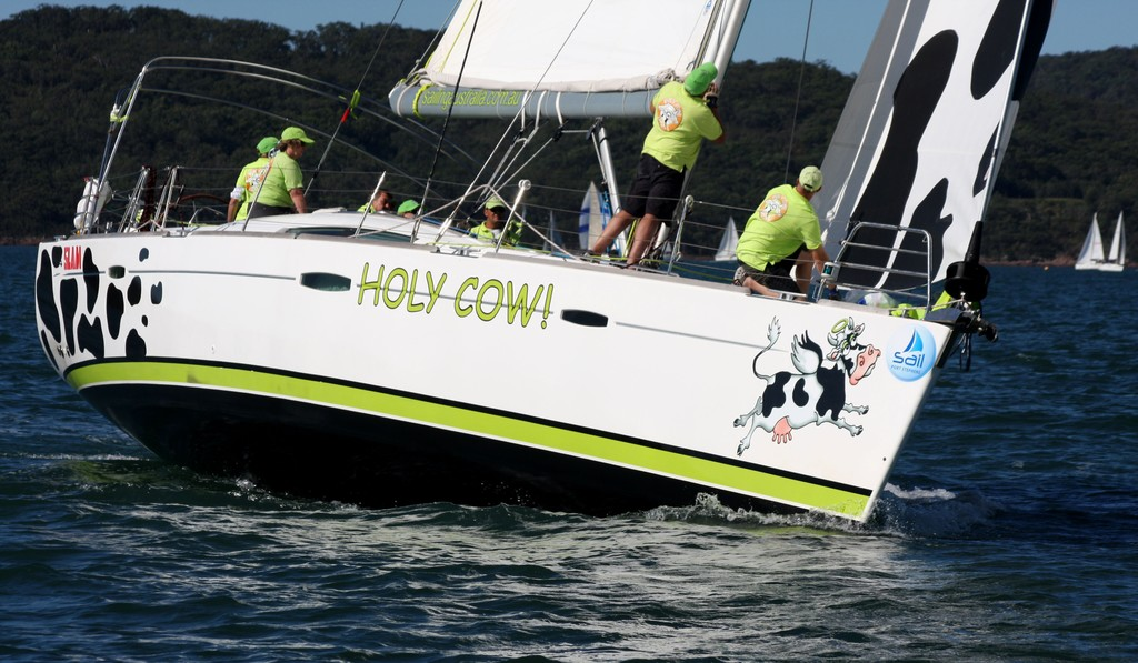 Holy Cow crew. Commodore&rsquo;s Cup day 3 Sail Port Stephens 2011  <br />  &copy; Sail Port Stephens Event Media