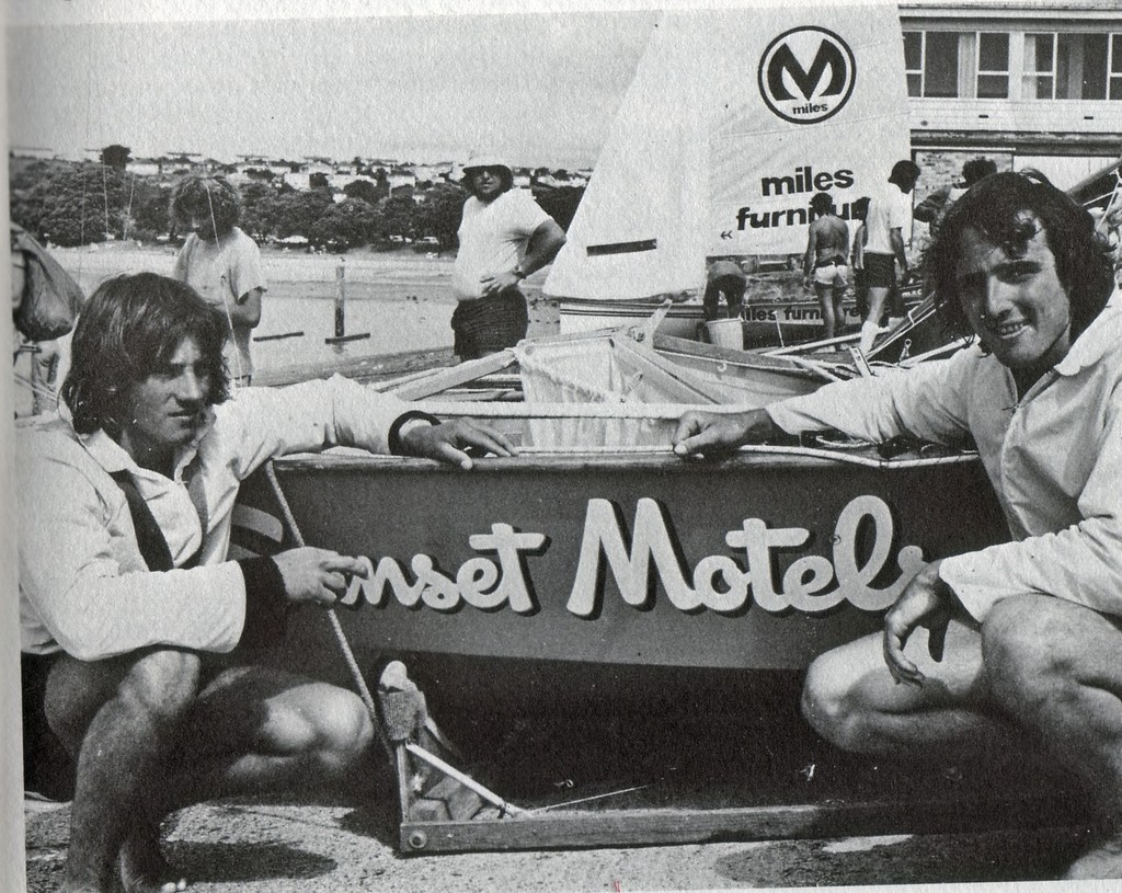 Iain Murray (left) 17 years old, after winning the 12ft skiff Interdominion title in Sunset Motels with crew Shane Corbett in a self-designed an built boat. © SW