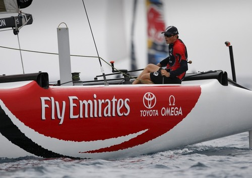 Dean Barker, skipper of Emirates Team New Zealand, takes the helm of an Extreme 40 for the first time on day 1 of the Extreme Sailing Series™ Almeria. © Paul Wyeth / OC Events