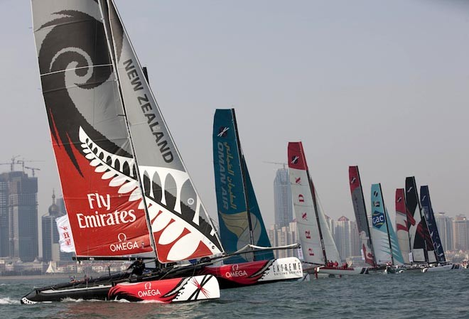2011 fleet on the start in line in Fushan Bay, QIngdao - Extreme Sailing Series Act 2, China © Lloyd Images http://lloydimagesgallery.photoshelter.com/