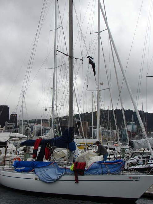 Competitors in the SSANZ Round the North Island race spent Tuesday preparing their yachts ahead of the start of the third leg tomorrow. The yachts are moored in Wellington's Oriental Bay. - SSANZ Round the North Island © Genevieve Howard