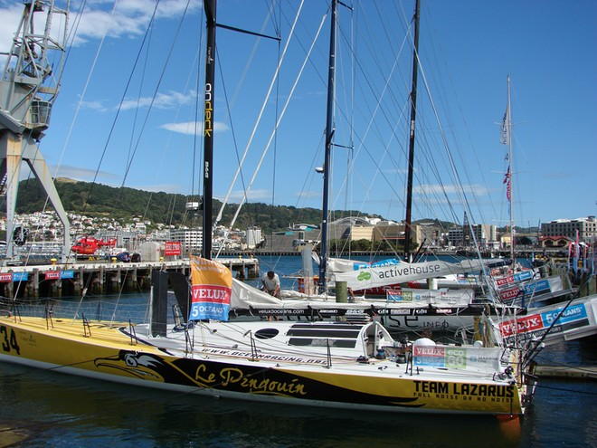 The Velux 5 Oceans yachts are moored at the Waterfront in Wellington - Velux 5 Oceans © Genevieve Howard