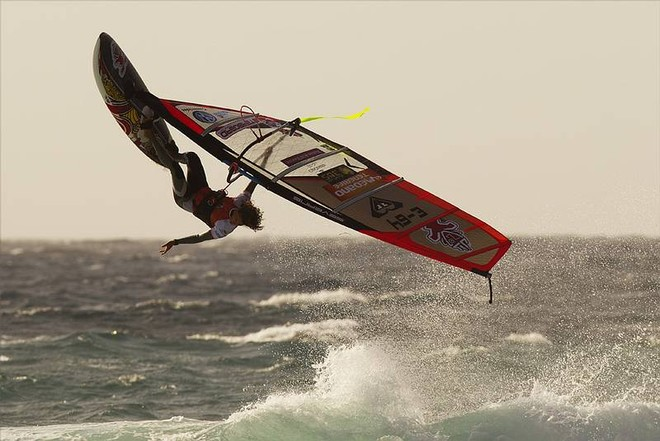 Daida Moreno one handed back loop - PWA Tenerife World Cup 2011 day two © PWA World Tour http://www.pwaworldtour.com