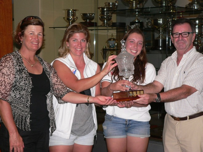 The winning team accepting the stunning Marinassess Women's Match Racing Trophy. Left to right – Karyn Gojnich, Nina Curtis, Olivia Price with Rear Commodore Howard Piggott  © CYCA Staff .