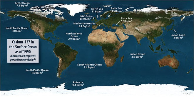 The background level of radiation in oceans and seas varies around the globe © Woods Hole Oceanographic Institution (WHOI) http://www.whoi.edu/