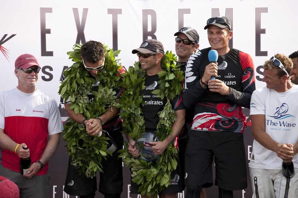 Winners are Grinners - Emirates Team NZ victorious in the Extreme Sailing Series. Act 4. Boston. USA. © Lloyd Images http://lloydimagesgallery.photoshelter.com/
