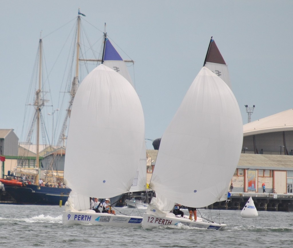 The Souter Price battle continues downwind - ISAF Sailing World's Elliott 6m © Elliott 6m Sailing