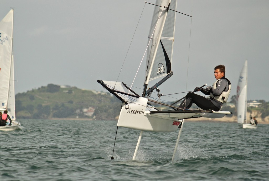 Andrew Brown sailing a foiling moth at Takapuna Beach © Georgia Schofield