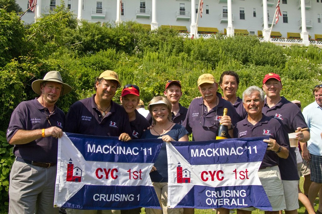 The crew with the admiral (captain's wife) after the flag ceremony - 103rd Race to Mackinac photo copyright Sean Palizza taken at  and featuring the  class