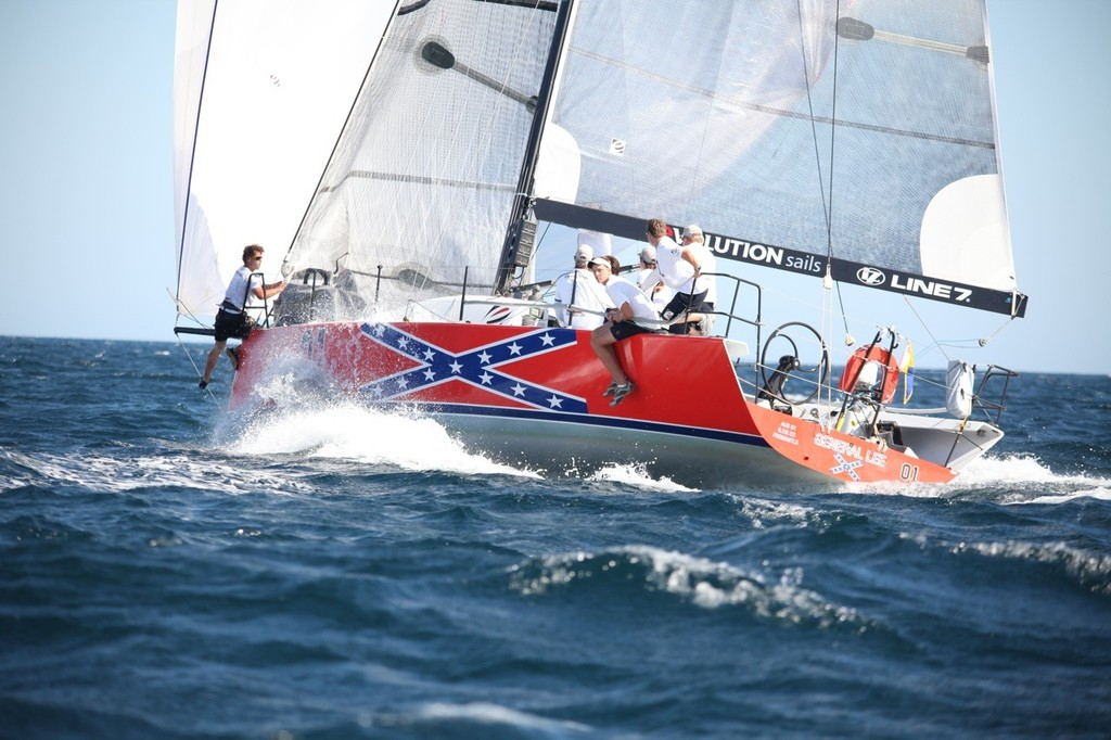 General Lee smokin' in race 1 for her second place, but finished nowhere in race 2. - Geographe Bay Race Week 2011 © Bernie Kaaks - copyright