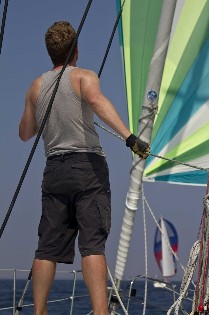 Bart the Australian trims spinnaker - 103rd Race to Mackinac © Sean Palizza