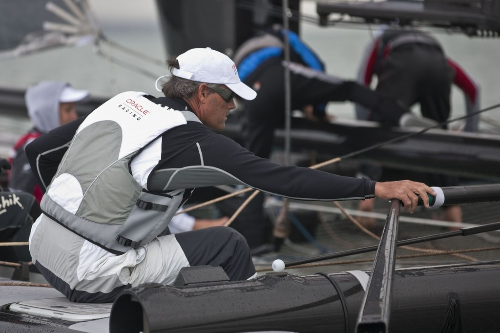 Russell Coutts finally gets the handles bars back © Gilles Martin-Raget/Oracle Racing.com http://www.oracleteamusamedia.com/