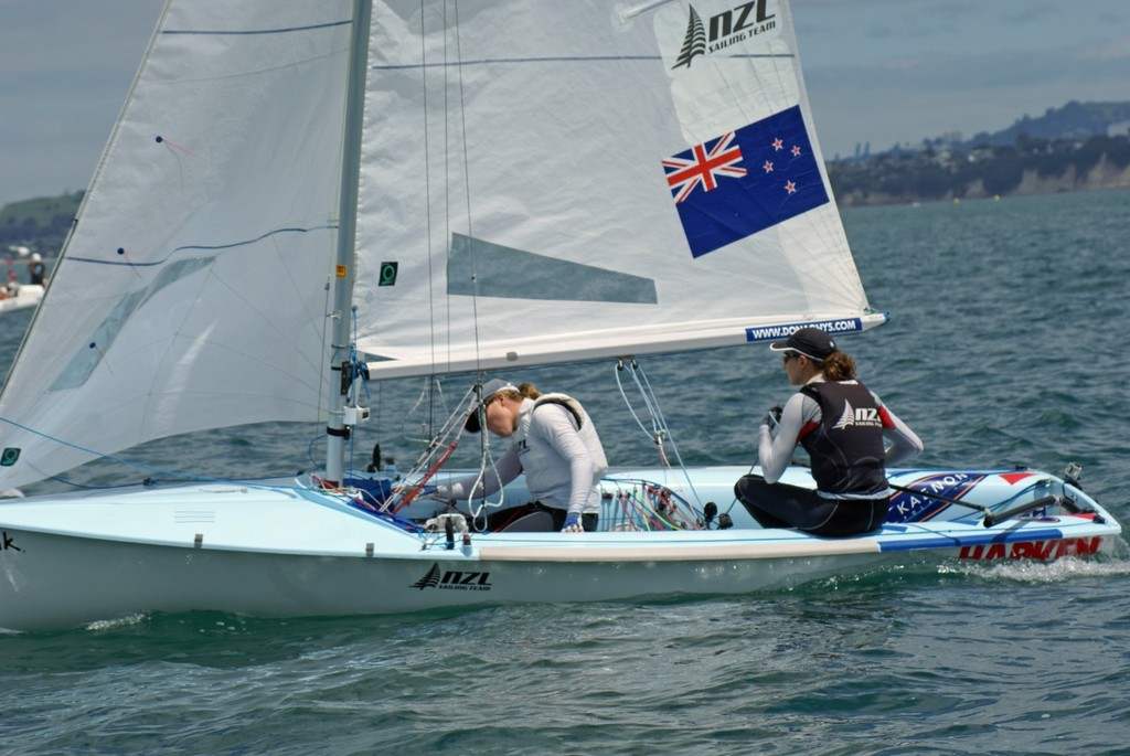 Jo Aleh and Olivia Powrie - 470 leaders - Sail Auckland - 2011 - Day 3 © Richard Gladwell www.photosport.co.nz