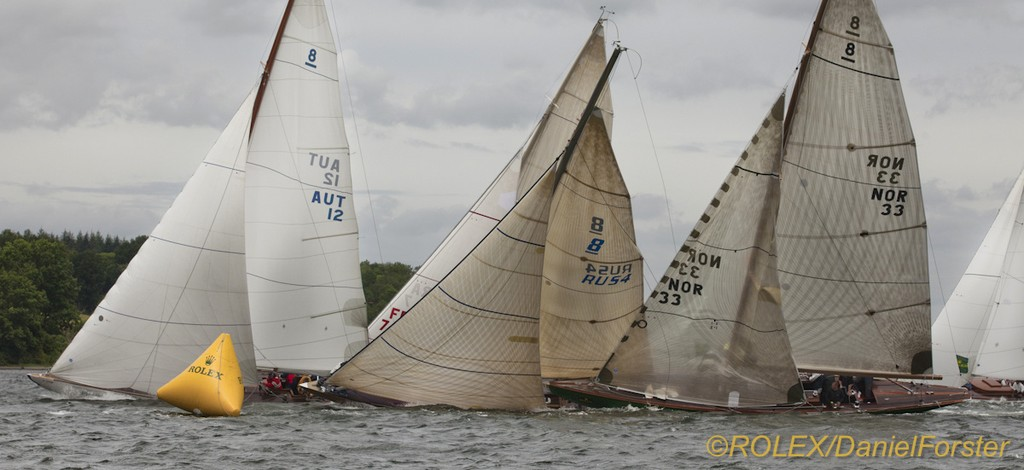 Bera (AUT 12), 1922, 8mR, Werner-Heinz Schifferl (Hörbranz, Austria)<br /> Astra II (RUS 4), 2007, 8mR, Alexey Rusetsky (St. Petersburg, Russia)<br /> Sira (NOR 33), 1938, 8mR, HM King Harald V of Norway (Oslo, Norway) &copy;  Rolex/Daniel Forster http://www.regattanews.com