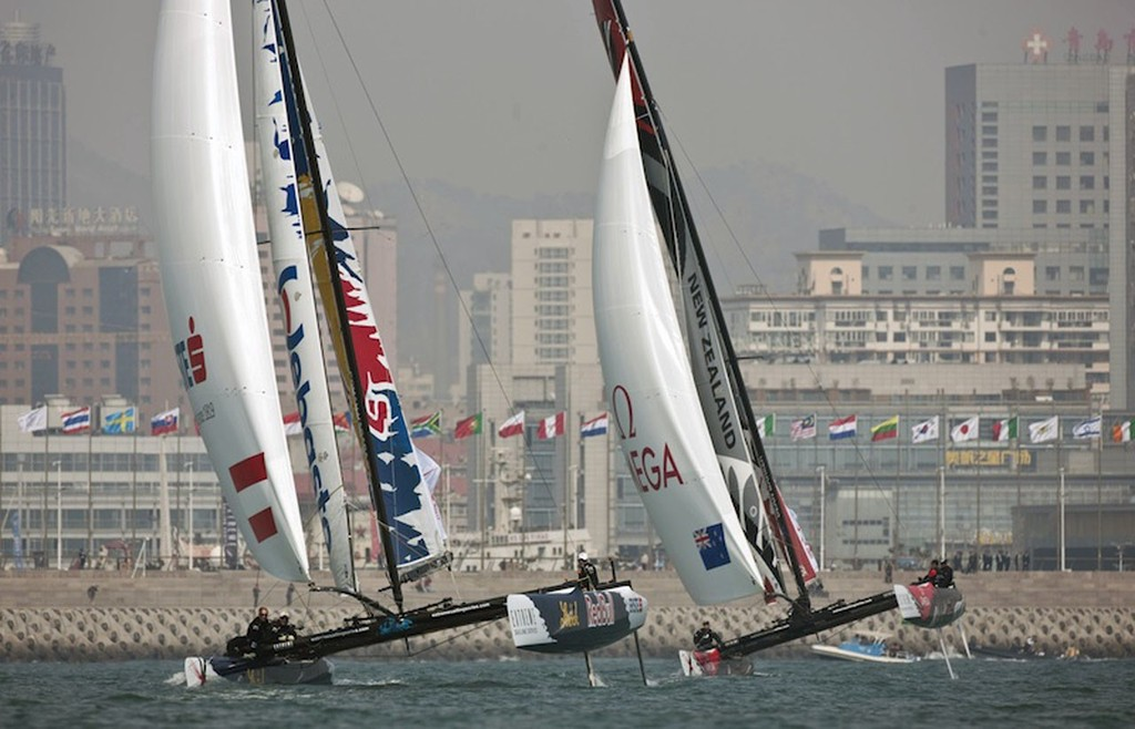 Red Bull and Emirates Team New Zealand Racing in Qingdao - Extreme Sailing Series  © Justin Leighton
