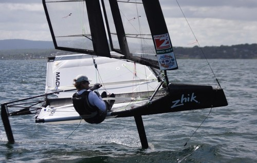 Charlie McKee in action with the Moth solid wing - Zhik Moth Worlds 2011- Lake Macquarie Australia © Sail-World.com /AUS http://www.sail-world.com