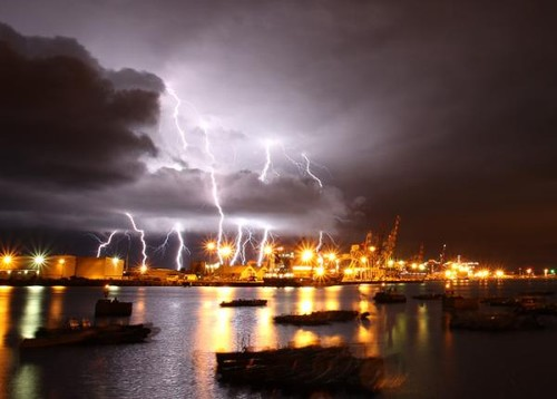 Racing was cancelled this day as the electrical storm raged - photo by Paul Kane - Perth 49er World champs © Event Media