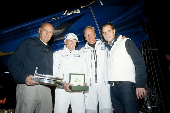 Line Honours presentation, l-r: Georges Bonello Dupuis, Commodore RMYC, Igor Simcic, Owner ESIMIT, Jochen Schümann, skipper ESIMIT; Malcolm Lowell Jr. (Edwards Lowell Co. Ltd.)  - Rolex Middle Sea Race 2011 © Rolex / René Rossignud