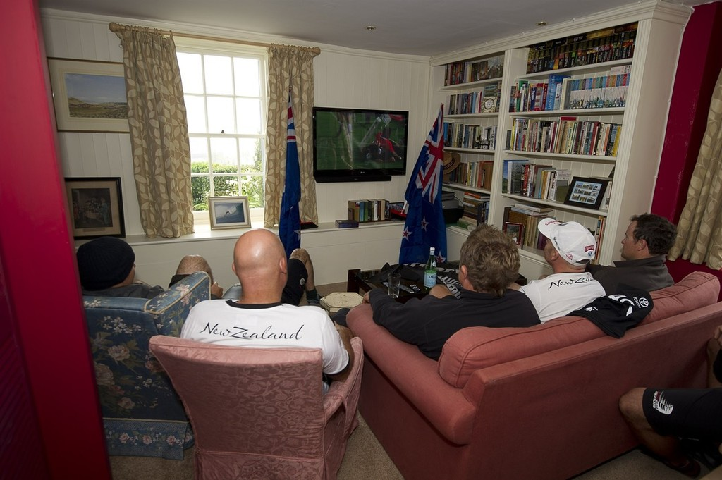 Emirates Team New Zealand sailors and shore crew watch the All Blacks vs Tonga Rugby World Cup game on TV before a day of practice for the America's Cup World Series in Plymouth, England. 9 /9/2011 © Chris Cameron/ETNZ http://www.chriscameron.co.nz