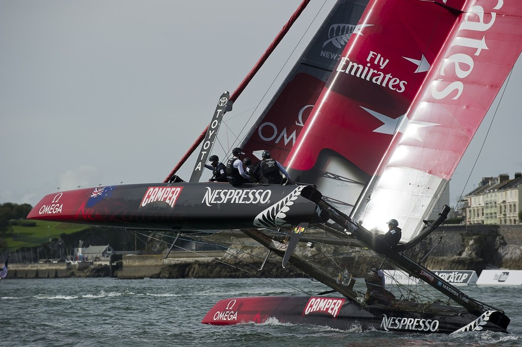 Emirates Team New Zealand before racing on day four of the America's Cup World Series in Plymouth, England. photo copyright Chris Cameron/ETNZ http://www.chriscameron.co.nz taken at  and featuring the  class