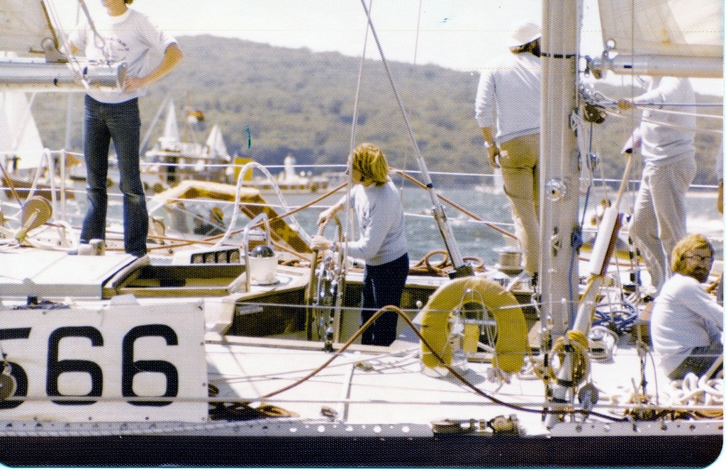 The late Rob James at the helm of Great Britain II at the start of the Auckland leg if the 1977-78 Whitbread Race © Richard Gladwell www.photosport.co.nz
