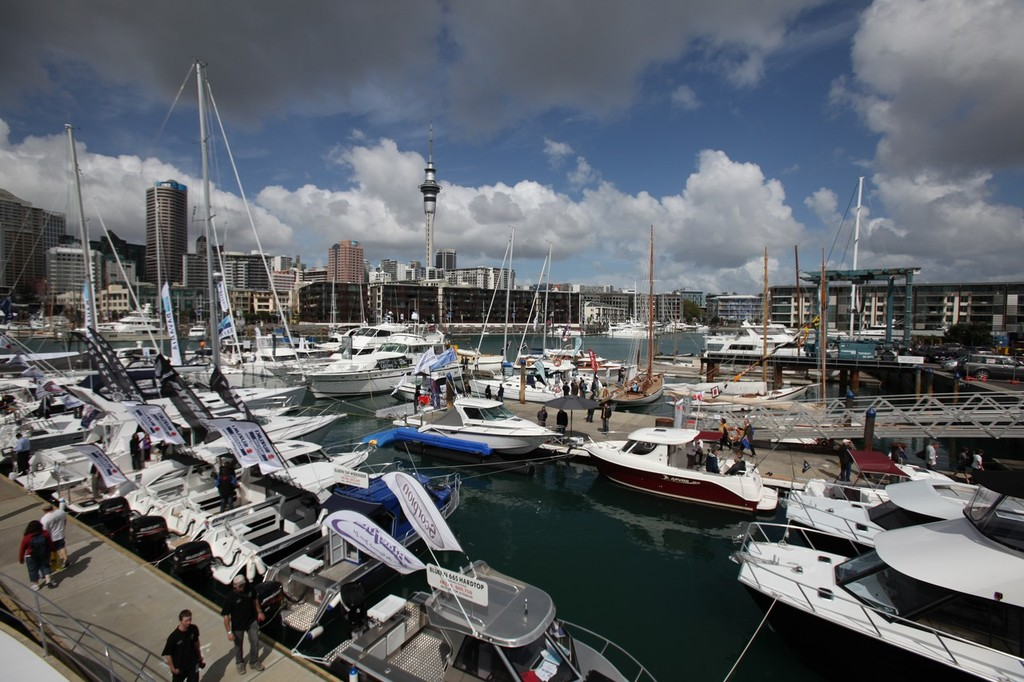 Boats on display at the Viaduct Harbour, Auckland International Boat Show © SW