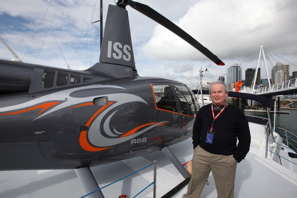 Designer Roger Hill on the heli-deck of Kukai, the 14m powercat he designed and is exhibiting at the Auckland International Boat Show. © SW
