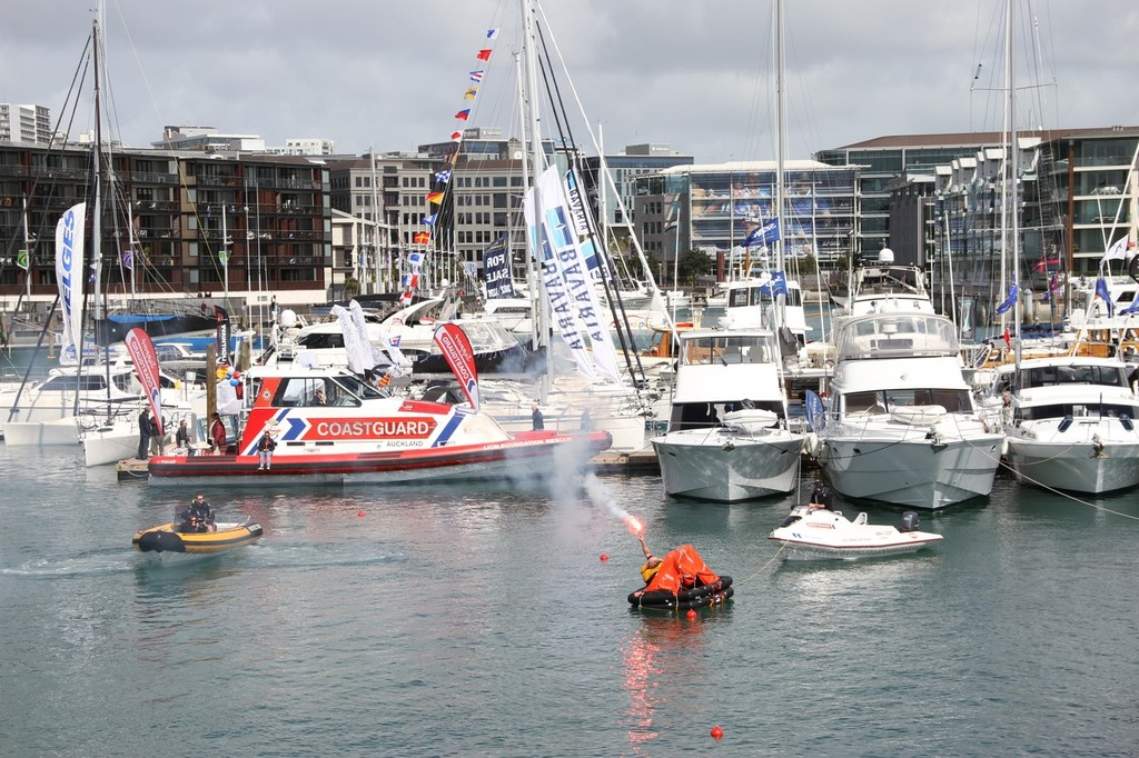 Coastguard flare demonstration - Auckland International Boat Show, 16 September 2011 © Richard Gladwell www.photosport.co.nz