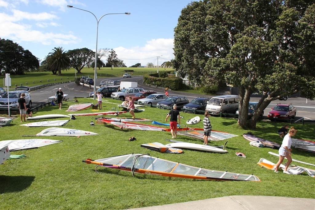 A group of new windsurfers rig up at Wakatere Boating Club - Opening Day 2011 © Richard Gladwell www.photosport.co.nz