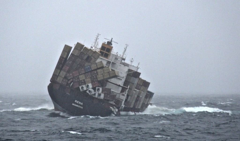 Rena stern shot showing near 20 degree list. 70 containers have fallen overboard.  © New Zealand Defence Force