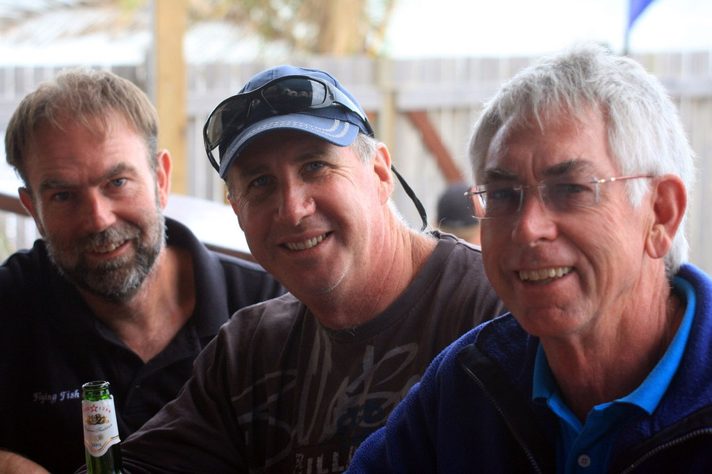 Stuart Morton, Ian Simpson & Peter Lane at the Beach Party, Sunday.Sealink Magnetic Island Race Week 2011  ©  SW